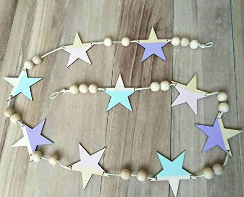 Versier LKU Nordic houten sterren en strepen hangend gordijn meisje baby kralen wanddecoratie gordijn bed gordijn, donkergrijs
