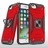 SORAKA Funda para iPhone 6 Plus/iPhone 6s Plus con Anillo de Metal,Funda Silicona Suave,Cubierta Trasera rígida de PC con Placa de Metal para Soporte magnético para teléfono móvil,Rojo