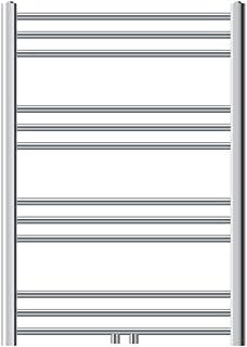 ECD Germany Radiador de baño 750 x 800 mm - Color cromado - Curvado - Conexión central - Radiador diseño clásico - Toallero calefactor para baño - Radiador calefactor de baño - No eléctrico