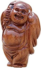 Chinese Feng Shui Decor Buddha Statues Wooden Laughing Home and Office Car Congratulatory Gifts Attract Wealth and Good Luck