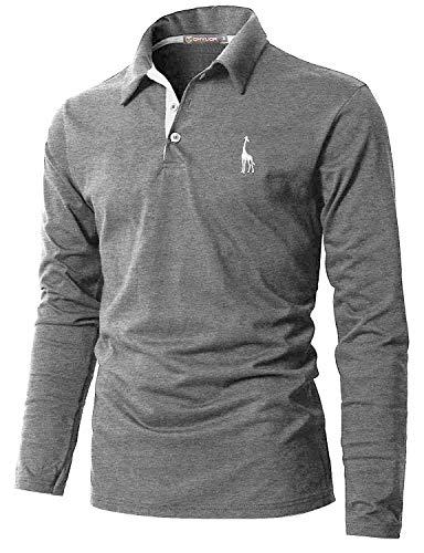 GHYUGR Poloshirt Herren Langarm Golf T-Shirt mit Fashion Giraffe Stickerei Polos,Grau 1,XL