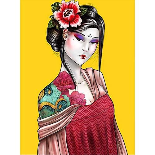 ZXXGA Kit De Punto De Cruz,DIY Pintura Al Oleo por Numeros,Mujer Japonesa Diamond Painting,Bordado de Diamantes de imitación para decoración de la Pared del hogar 40x50cm