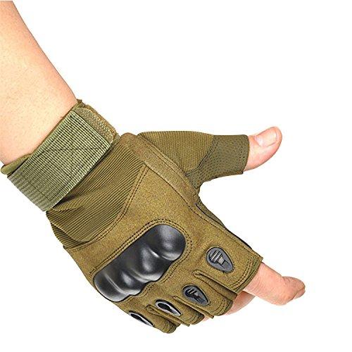 guanti mezze dita uomo CHLNIX Uomo Mezze Dita Duro Knuckle Guanti Tattici Guanti Senza Dita di Lavoro Gear per Camping Escursionismo Ciclismo Arrampicata Caccia Pesca