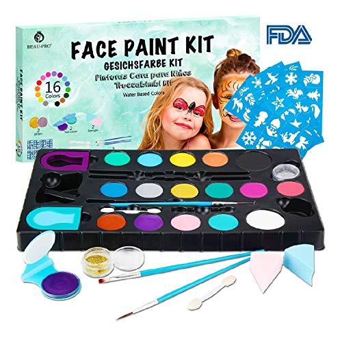 🎀Kit truccabimbi professionale | Il truccabimbi kit ha 16 colori di vernice e 2 polveri glitter. Questi colori sono brillanti e audaci, ha anche un forte potere coprente. Puoi usarli da soli o mescolarli per ottenere il colore che desideri. Le spugne...