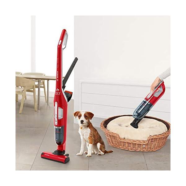 Bosch-Flexxo-Serie-4-BBH3ZOO25-Aspirador-escoba-2-en-1-sin-cable-y-de-mano-autonoma-de-55-minutos-especial-animales-con-accesorios-extra-color-rojo