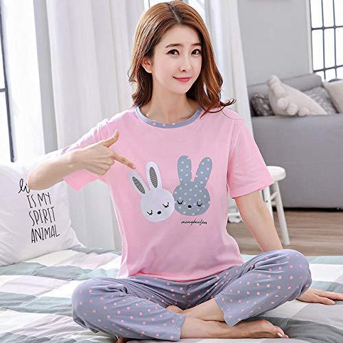 JFCDB Nachthemd Lente korte mouw pyjama pak vrouwen mooie thuis kleding voor dames O-hals lounge wear meisjes Casual nachtkleding, sdxc huibai2tu roze, M
