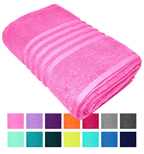 Lashuma badhanddoek XXL, strandhanddoeken London in 14 kleuren, Uni strandlaken groot, badhanddoek grootte: 100x150 cm 100 x 150 cm Lotus Rosa