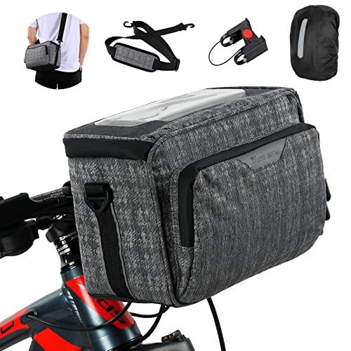 XIQI Fahrrad Lenkertasche, Kann als Umhängetasche, Fahrradkorb Vorne mit Schultergurt Halterung Schnellverschluss Touchscreen, Fahrradtasche Lenker Wasserdicht Geeignet für MTB BMX Cityräder
