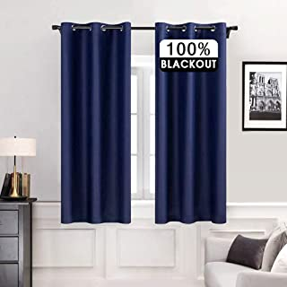 MIULEE Short Curtains with Grommet Completely Block Out Nursery Bedroom 100% Blackout Drapery 2 Pieces 42 Wide by 63 inche...