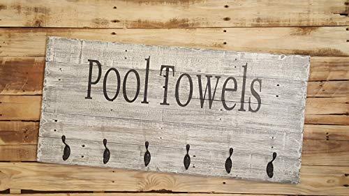 Rea66de Pool-Handtuchhalter mit Haken, aus recyceltem Holz, Pool-Handtuchhalter mit Haken, Pool-Handtücher, Schild mit Haken, Pool-Haus-Dekor