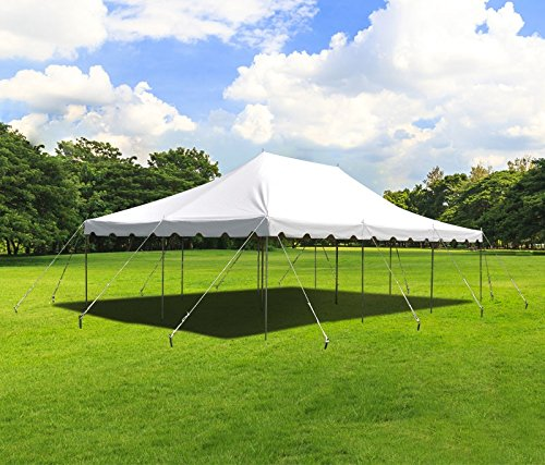 TentandTable 20-Foot by 30-Foot Heavy Duty 14-Ounce Vinyl White Canopy Pole Tent Set with Storage Bag for Weddings, Parties, and Events