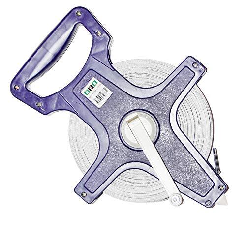 Preisvergleich Produktbild 1 x Maßband,  Rollmaßband,  Rollbandmaß,  50 Meter Bandmaß Fiberglas verstärkt,  Kunststoff blau mit ergonomischem Handgriff,  ausklappbare Kurbel,  2 Skalen: Meter / Feet,  Hersteller HKB,  Artikel-Nr. 50773