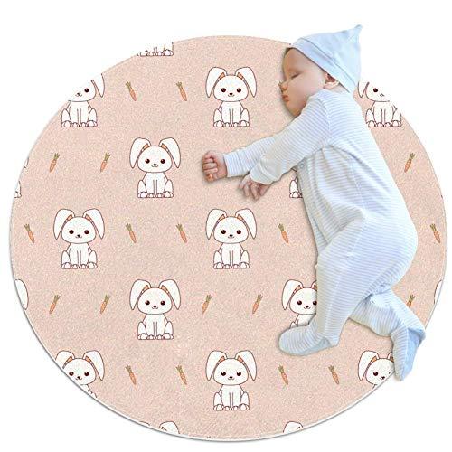 Hohohaha Little Rabbit Carottes Tapis de jardin d'enfants cercle tapis de jeu pour enfants bébé garçon fille tapis doux zone tapis tapis 27,6 x 27,6 cm, multicolore 02, 80x80cm/31.5x31.5IN