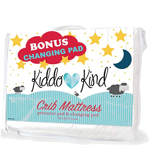 Kiddo Kind Baby Crib Mattress Protector with Free Portable Changing Pad - Waterproof Crib Mattress Pad Also Fits Toddler Bed