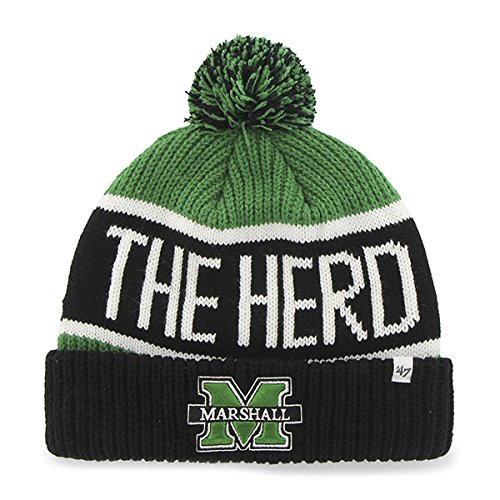 '47 Marshall Thundering Herd Cuff Calgary Cuffed Beanie Hat with Pom - NCAA Cuffed Winter Knit Toque Cap
