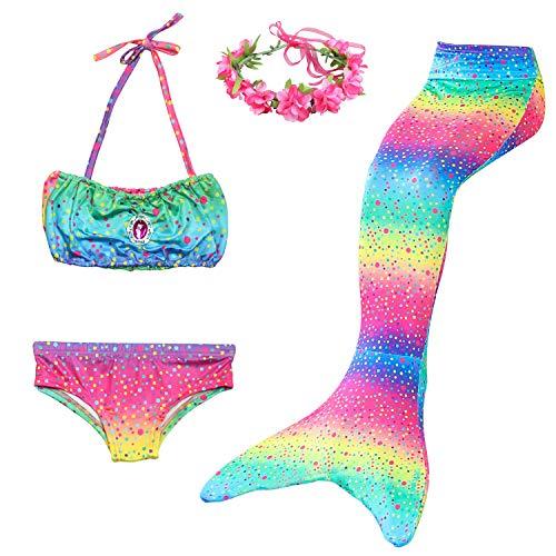 Cola de Sirena Niña 4pcs Traje de Baño Mermaid Bikini Establece Disfraz de Sirena para Niña Princesa Cosplay Conjuntos con Diadema de Flores