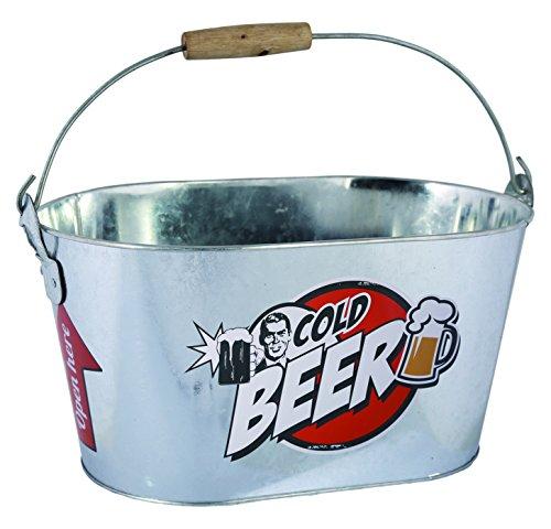 ootb Cubo de Metal Ovalado, Cold Beer, con asa y Manilla de Madera, Aluminio, Plateado, 26 x 13 x 4 cm