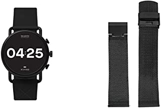 Skagen Connected Falster 3 Gen 5 Stainless Steel and Silicone Touchscreen Smartwatch, Color: Black (Model: with 22mm Stainless Steel Mesh Watch Strap, Color: Black (Model: SKB6068)