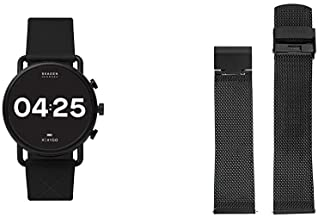 Skagen Connected Falster 3 Gen 5 Stainless Steel and Silicone Touchscreen Smartwatch, Color: Black (Model: with 22mm Stain...