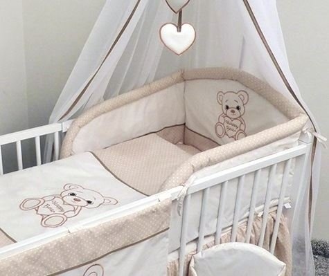 Bébé Chambre d'enfant 3 pièces Ensemble de literie pour s'adapter au 140 x 70 cm pour lit bébé – Happy Bear – Beige
