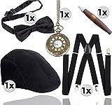 TK Gruppe Timo Klingler Ensemble d'accessoires 5 en 1 - 1920 pour homme - Pour carnaval et déguisement de mafia, Charleston, Gatsby, gangster