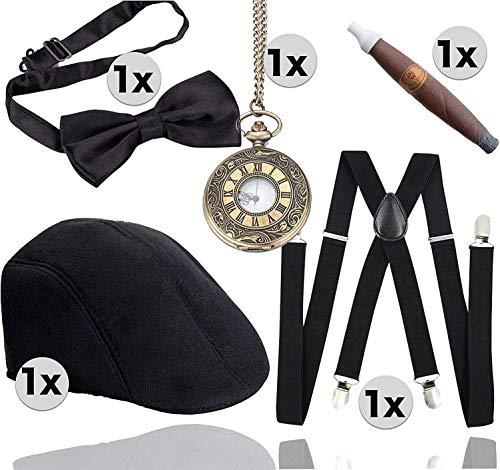 TK Gruppe Timo Klingler 5 in 1 - 1920 er Accesoirres Herren Set für Fasching & Karneval - Verkleidung wie Mafia, Charleston, Gatsby, Gangster