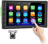 Android 9.0 Double Din Car Stereo 7'' HD Touch Screen Car Radio with Bluetooth WiFi GPS FM Radio Receiver DVR Android/iOS Mirror Link Support Double Screen Display + Backup Camera