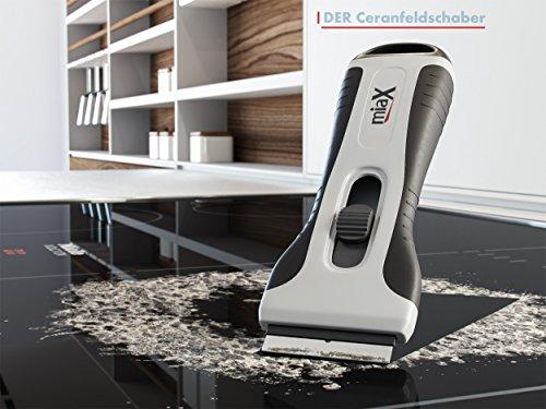 miaX Rasqueta Profesional vitrocerámica Rascador confiable para cocina raspador para estufa en el hogar Estable con mango de tacto suave cuchillas de reemplazo integradas para el raspador de cristal