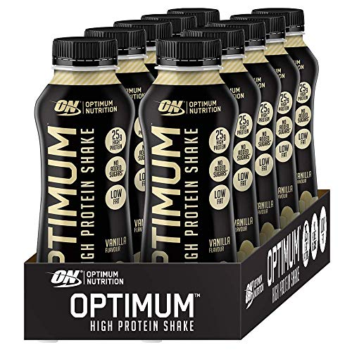 Optimum Nutrition ON High Protein Shake Bottles, Ready To Drink Snack, Low Fat and No Added Sugar, Vanilla, 10 Shakes, 10 x 330 ml