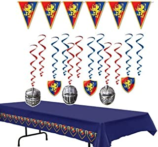 Medieval Party Decorations Kit 2.0 with Tablecover, Banner, and Whirls