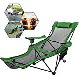 ZXLIFE@@ Portable Folding Stool, Folding Chair with Footrest, Camping Chair with Removed Pillows