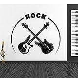 wZUN Bajo Cruzado y Guitarra eléctrica Tienda de Rock Etiqueta de la Pared decoración de la Sala de música para Instrumentos Musicales extraíble 57X48cm