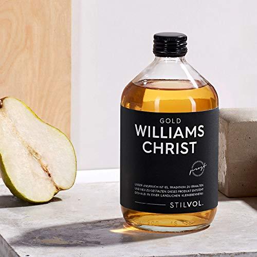 STILVOL. Williams Christ Gold | 500ml | 36% Alkohol | Premium Schnaps mit eingelegter Birne