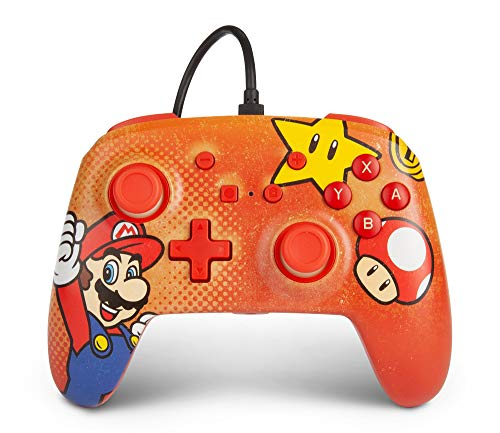 PowerA Enhanced Wired Controller for Nintendo Switch - Mario Vintage, Gamepad, Wired Video Game Controller, Gaming Controller - Nintendo Switch