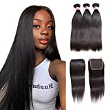 Brazilian Straight Hair Bundles With Closure 8A Human Hair Bundles With Closure 100% Unprocessed 3 Bundles With 4 * 4 Lace Closure Straight Remy Hair Extensions Natural Black Color (10'12'14'+8')