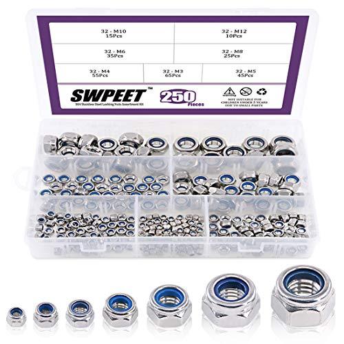 Swpeet 250Pcs 304 Stainless Steel Metric Lock Nut Assortment Kit Perfect for Lock Washers, Nylon Insert Locknut M3 M4 M5 M6 M8 M10 M12