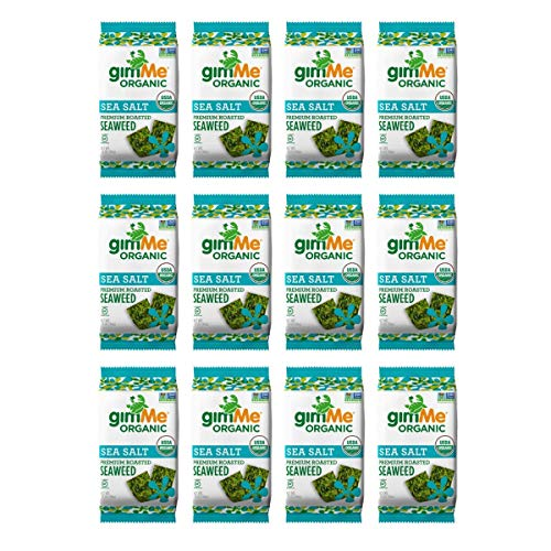 gimMe Organic Roasted Seaweed - Sea Salt - 12 Count Sharing Size - Keto, Vegan, Gluten Free - Great Source of Iodine and Omega 3's - Healthy On-The-Go Snack for Kids & Adults