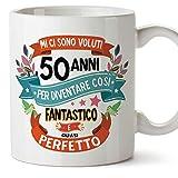 MUGFFINS Tazza Compleanno 50 Anni - Idee Regali Originali et Divertenti per Uomo e Donna - per lui/per lei. Ceramica 350 mL