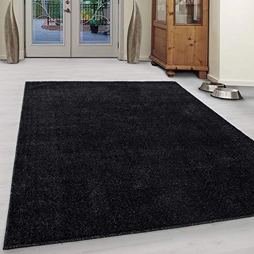 TeppichWorld Teppich Wohnzimmer Schlafzimmer Kinderzimmer Kurzflor auch als Läufer für Flur oder rund Esszimmer Jugendzimmer Arbeitszimmer Küche modern schwarz (140 x 200 cm)