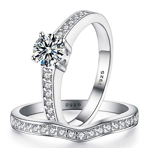 Sreema London 925 Sterling Silver Pave Solitaire Women's Wedding Engagement Promise Ring Set Box Included (K)