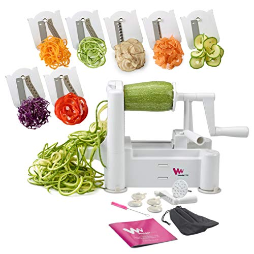 WonderVeg Perfect Vegetable Slicer and Spiralizer with 7-Stainless Steel Blades, White
