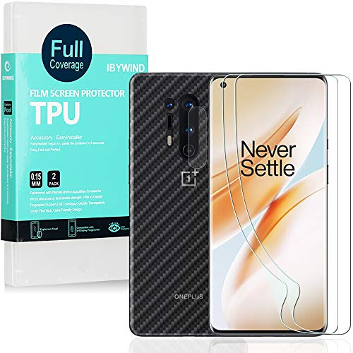 Ibywind Transparent Weich TPU Bildschirmschutzfolie für OnePlus 8 Pro [ 2 Stück ],[Kamera Schutzfolie][Carbon Fiber Folie für die Rückseite][Fingerabdruck kompatibel][Blasenfrei]