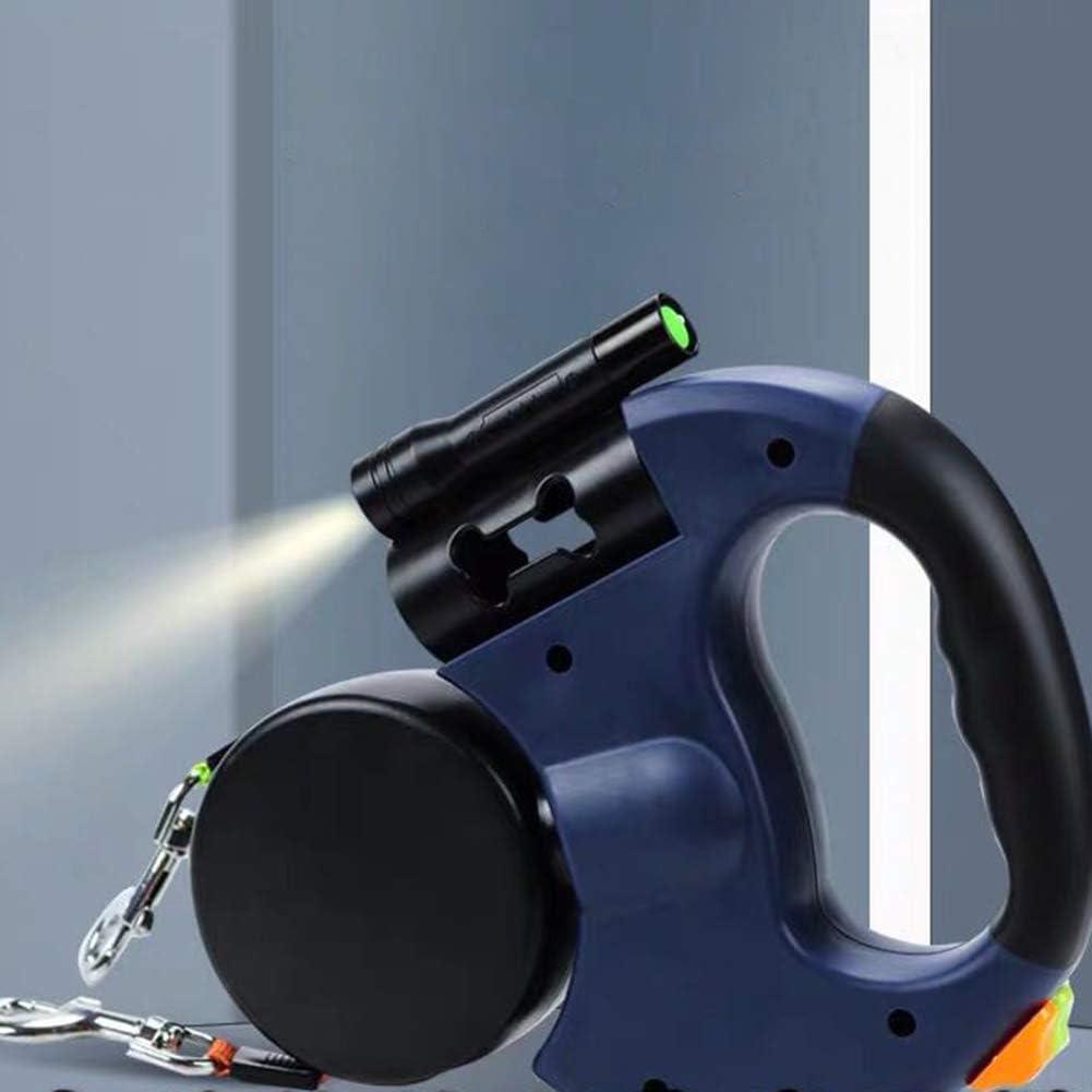Asduaro Einziehbare Haustier-Hundeleine Roll-Leine mit Taschenlampe und M/üllsack Bungee Leine Teleskop Zugseil G/ürtel L/änge 3 m Doppelleine fur Zwei Hunde