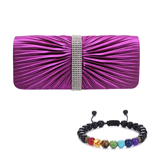 Womens Clutch Bag Pleated Satin Rhinestone Ladies Evening Clutch Chain Shoulder Bags Wedding Bridal Prom Party Handbag Purse with a Lava Stone Beads Bracelets Gift (Purple)