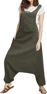 comprar comparacion Luckycat Monos Mujer Fiesta Tallas Grandes Verano sin Mangas Suelto Pantalon Ancho Babero Trajes Mujer Vestir Elegante Lar...