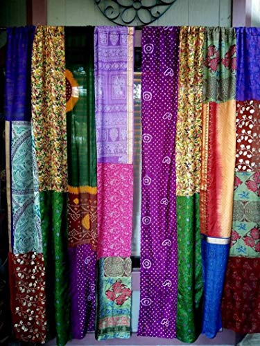 Indian Vintage Sari Multi Color Patchwork Recycle Curtains and Drapes Window Home Decor Curtain 2 Pieces (Assorted)