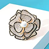yuge Broche de circonita multicapa para mujer, elegante, flor multicapa, cobre, joyería de moda
