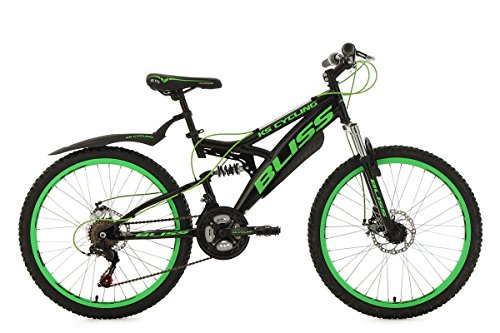 KS Cycling Jugendfahrrad Mountainbike Fully 24'' Bliss schwarz-grün RH38cm