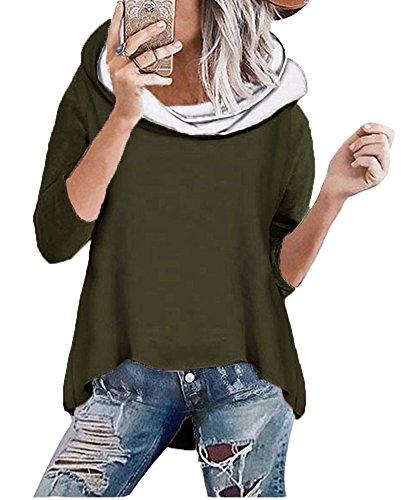 ShallGood Damen Herbst Winter Kapuzenpullover Hoodies Langarm Kapuzenpulli Rollkragen Sweatshirt Oberteil Pullover Tops Bluse Kapuzen Sweatshirt (DE 40, Grün)