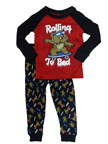 Faded Glory Rolling to Bed Infant Toddler Boy Sleepwear Dog Skate Pajamas 24m Red